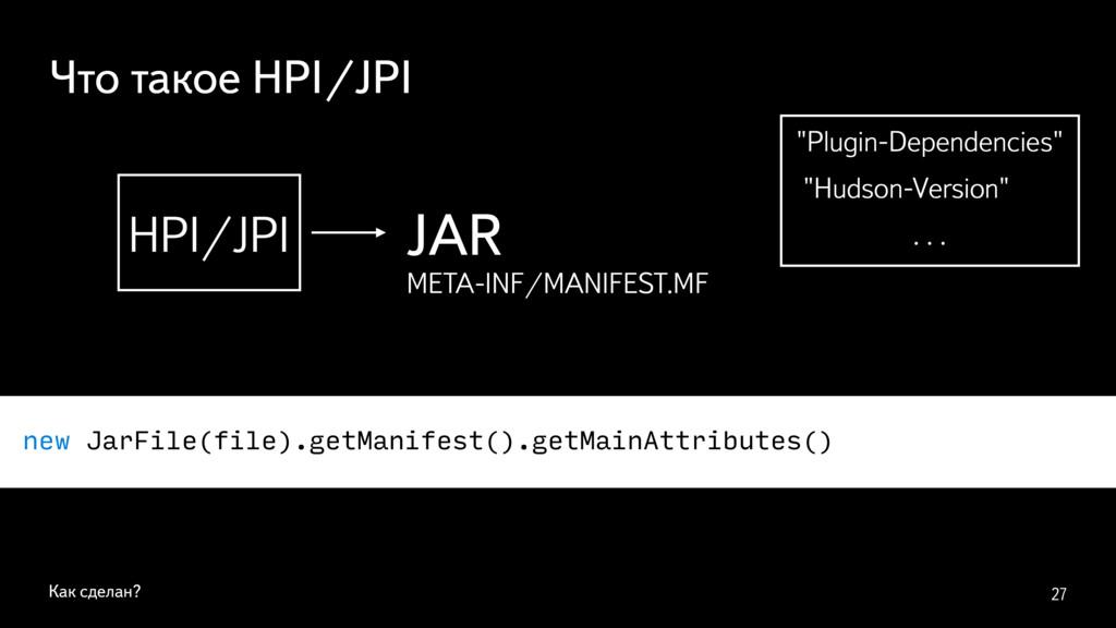 Как сделан? 27 HPI/JPI JAR META-INF/MANIFEST.MF...