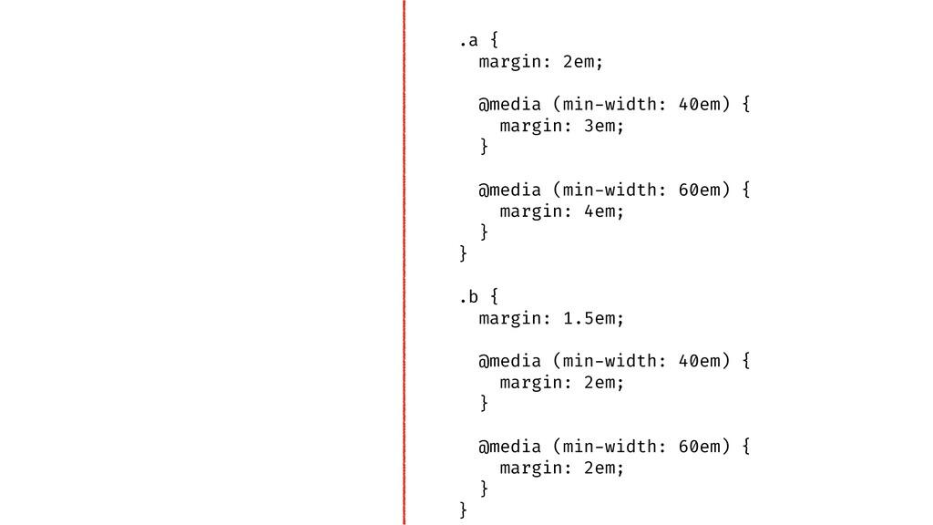 .a { margin: 2em; @media (min-width: 40em) { ma...
