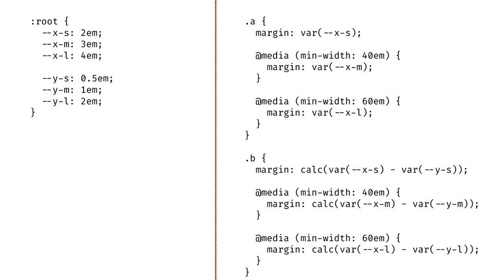 """.a { margin: var(""""--x-s); @media (min-width: 40..."""