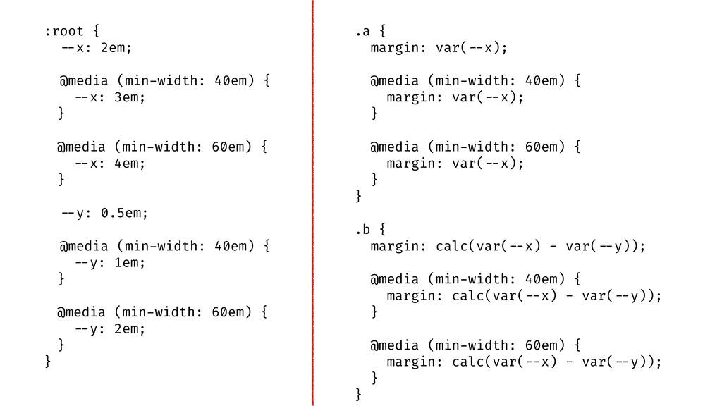 ".a { margin: var(""--x); @media (min-width: 40em..."