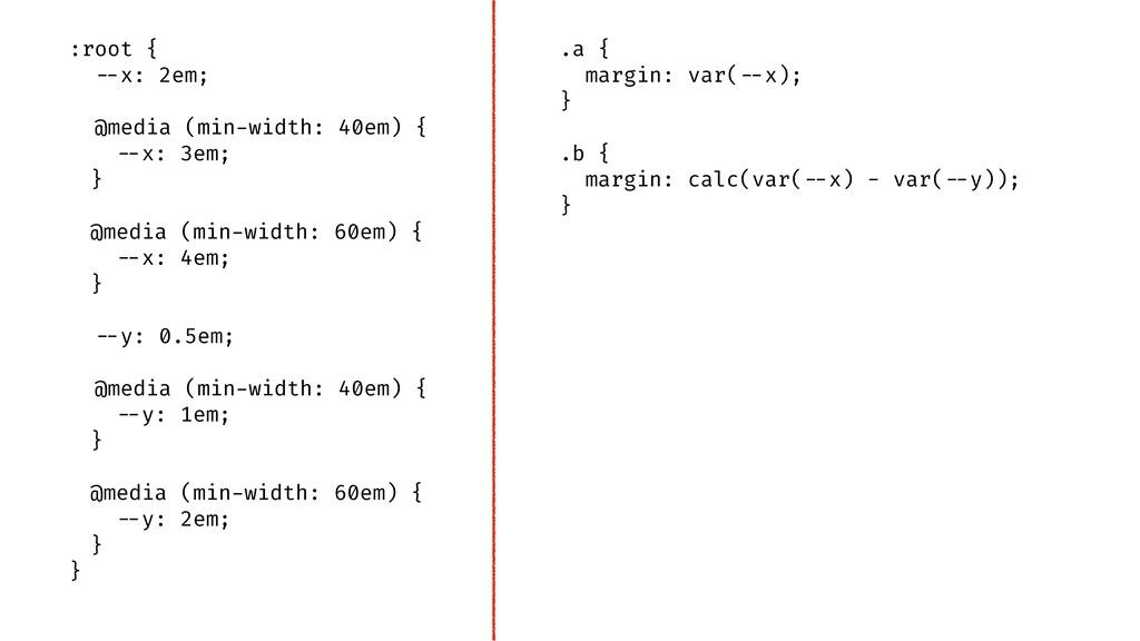 ".a { margin: var(""--x); } .b { margin: calc(var..."