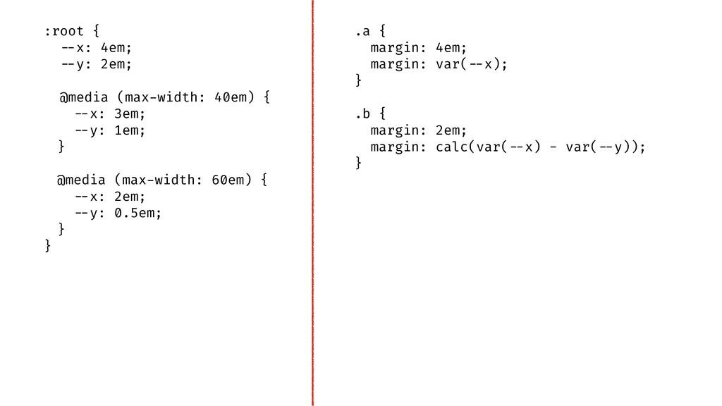 ".a { margin: 4em; margin: var(""--x); } .b { mar..."