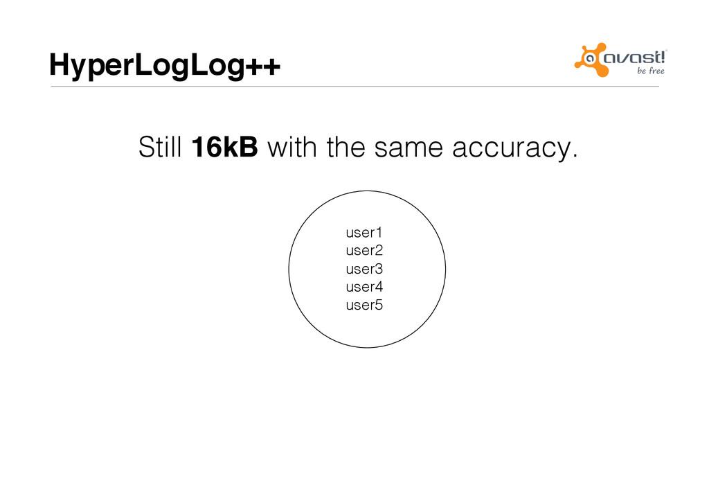 HyperLogLog++# user1! user2! user3! user4! user...