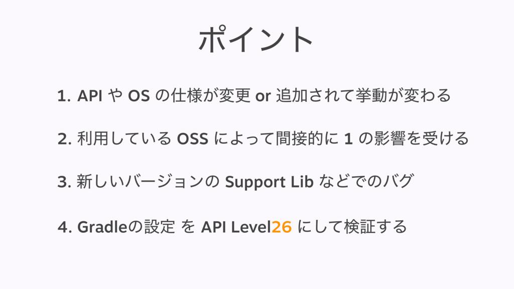 ϙΠϯτ 1.API  OS ͷ༷͕มߋ or Ճ͞Εͯڍಈ͕มΘΔ 2. ར༻͍ͯ͠...