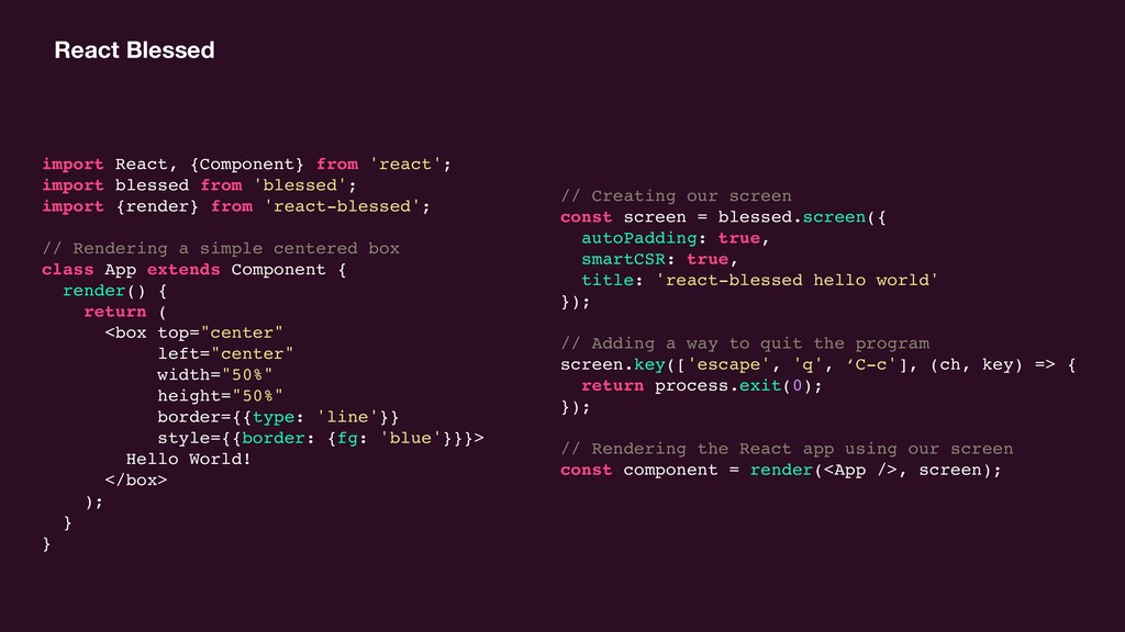 React Blessed import React, {Component} from 'r...