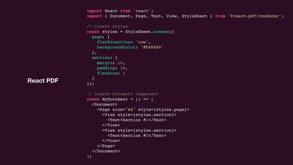 React PDF import React from 'react'; import { D...