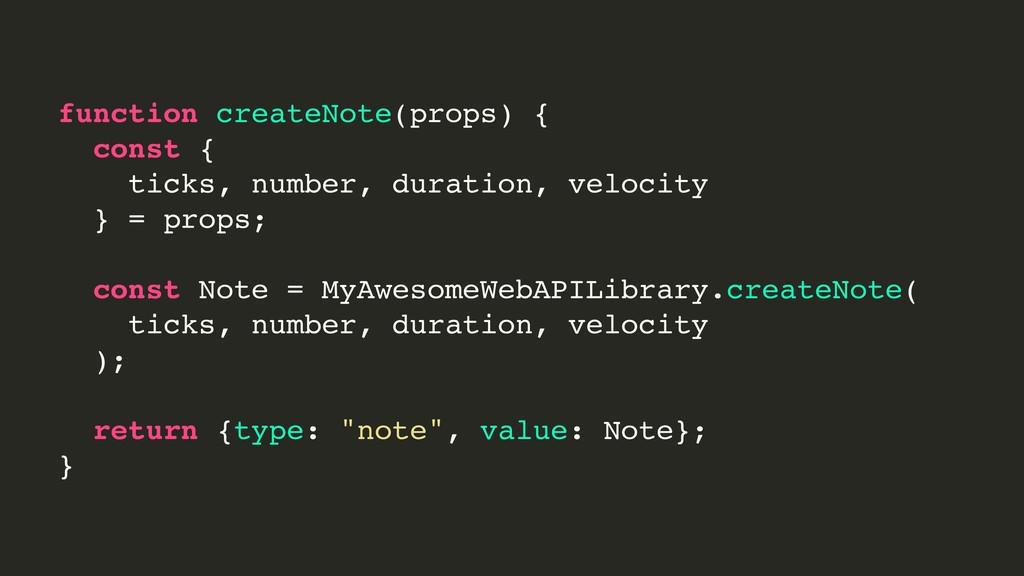 function createNote(props) { const { ticks, num...