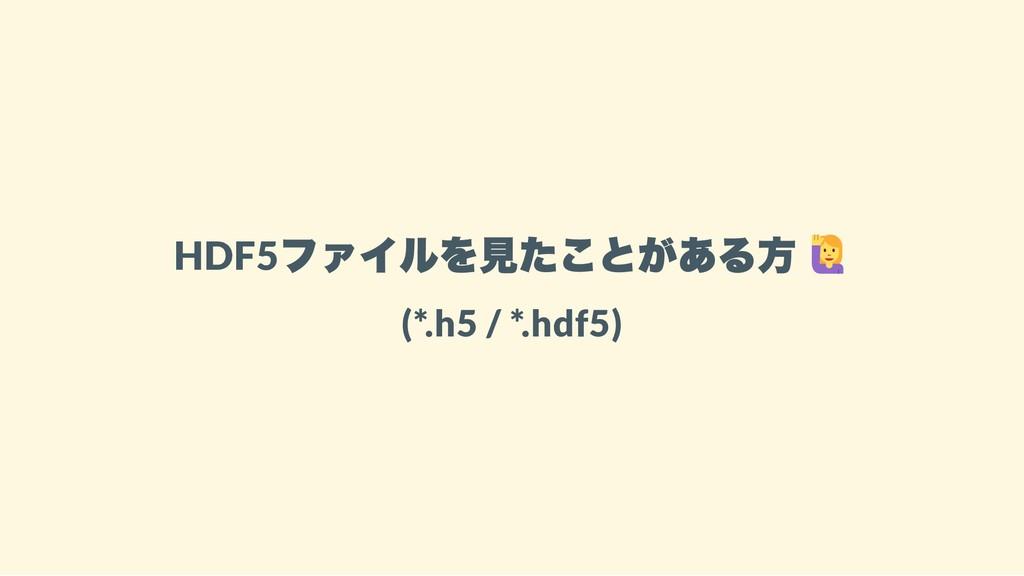 HDF5 ファイルを見たことがある方 (*.h5 / *.hdf5)