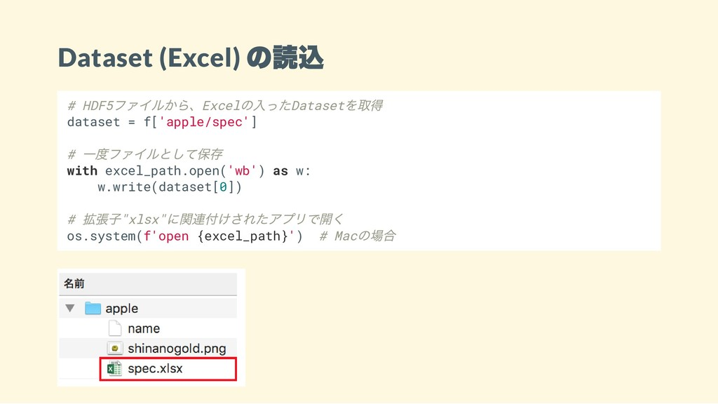 Dataset (Excel) の読込 # HDF5 ファイルから、Excel の入ったDat...
