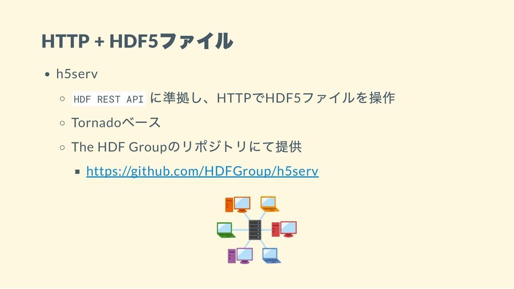 HTTP + HDF5 ファイル h5serv HDF REST API に準拠し、HTTP ...