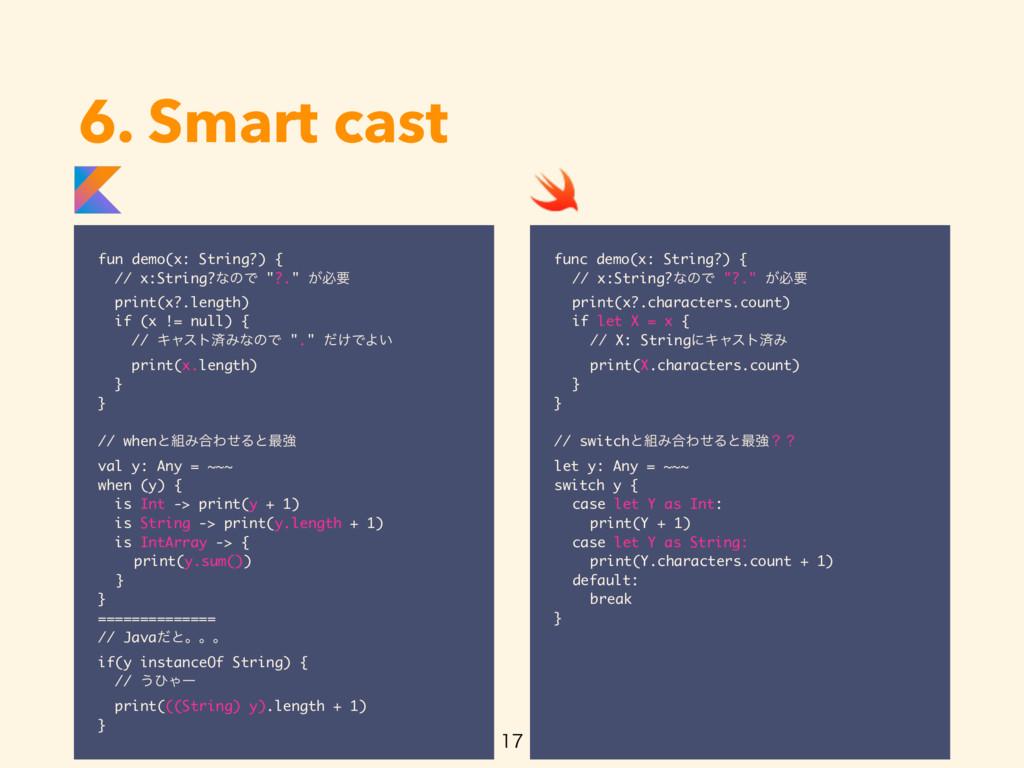 6. Smart cast fun demo(x: String?) { // x:Strin...