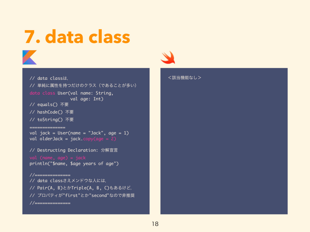 7. data class // data classɼ // ୯७ʹଐੑΛ͚ͭͩͷΫϥε...