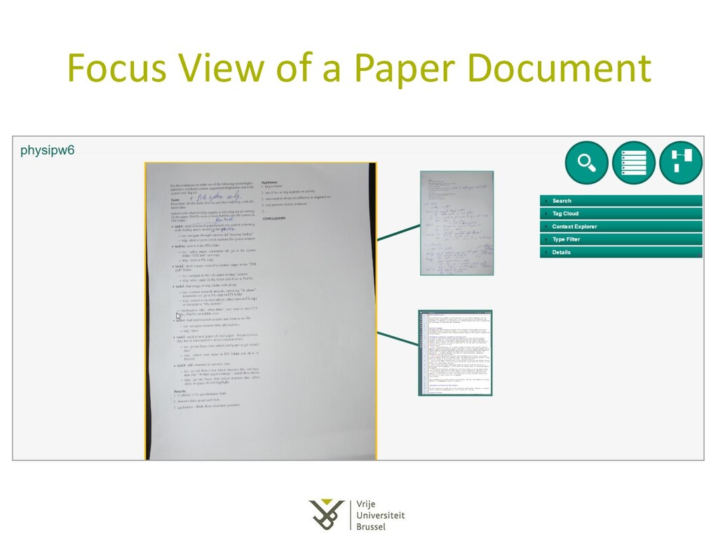 Focus View of a Paper Document