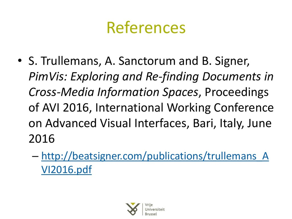 References • S. Trullemans, A. Sanctorum and B....