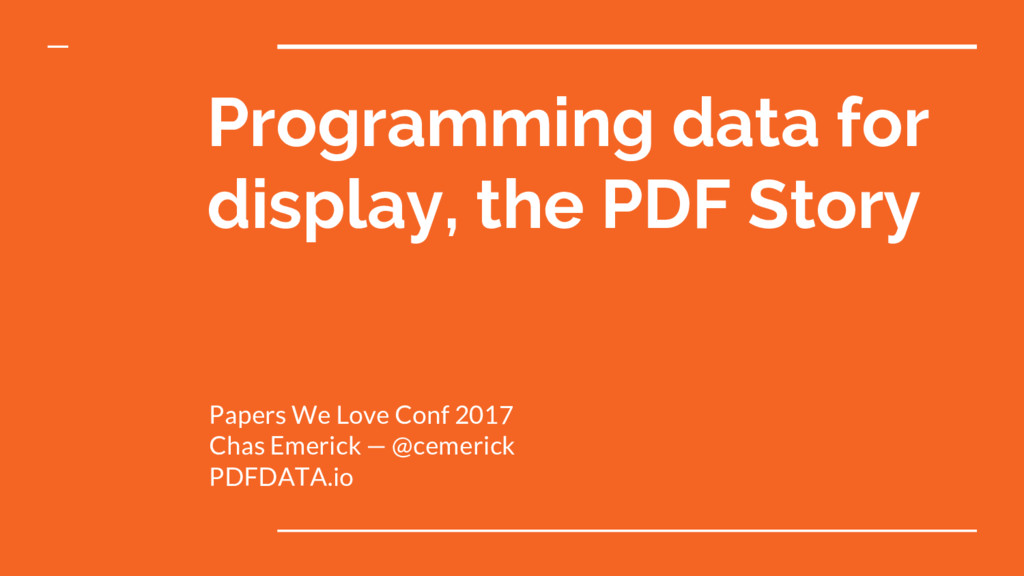 Programming data for display, the PDF Story Pap...