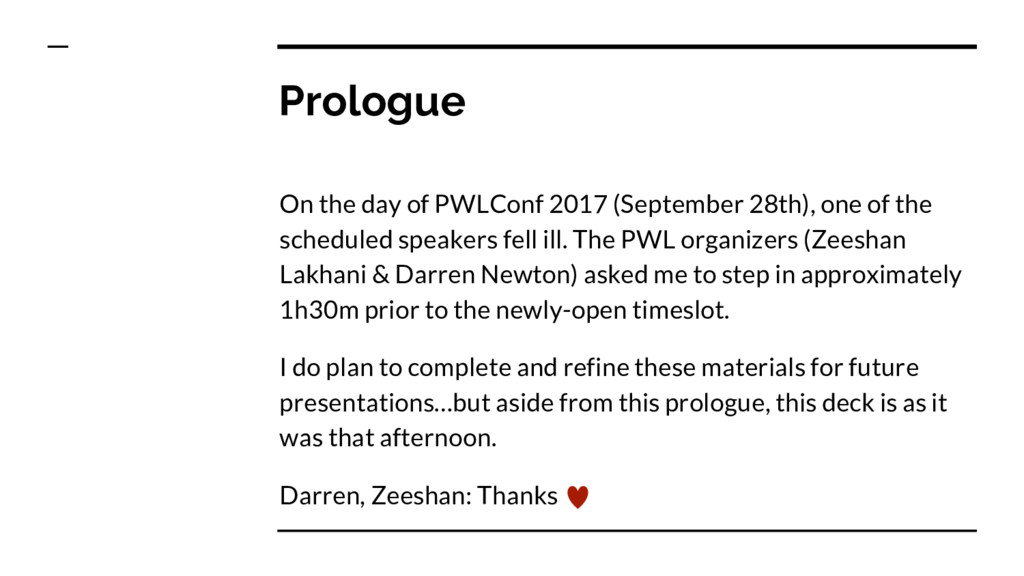 Prologue On the day of PWLConf 2017 (September ...