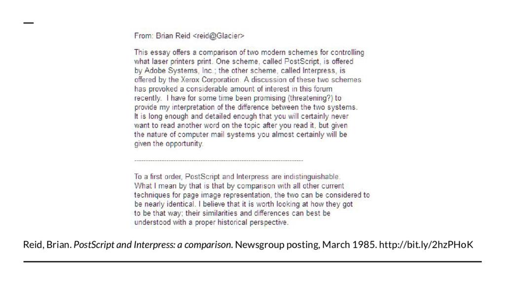 Reid, Brian. PostScript and Interpress: a compa...