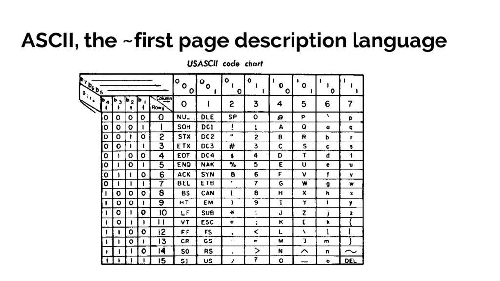 ASCII, the ~first page description language