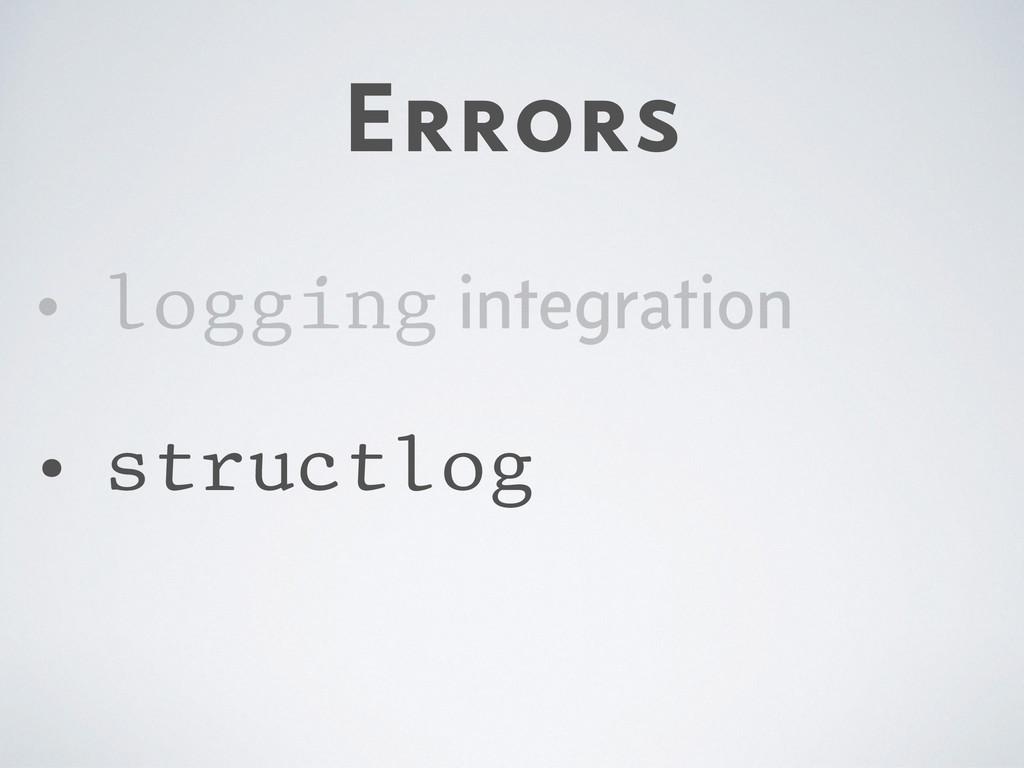 Errors • logging integration • structlog