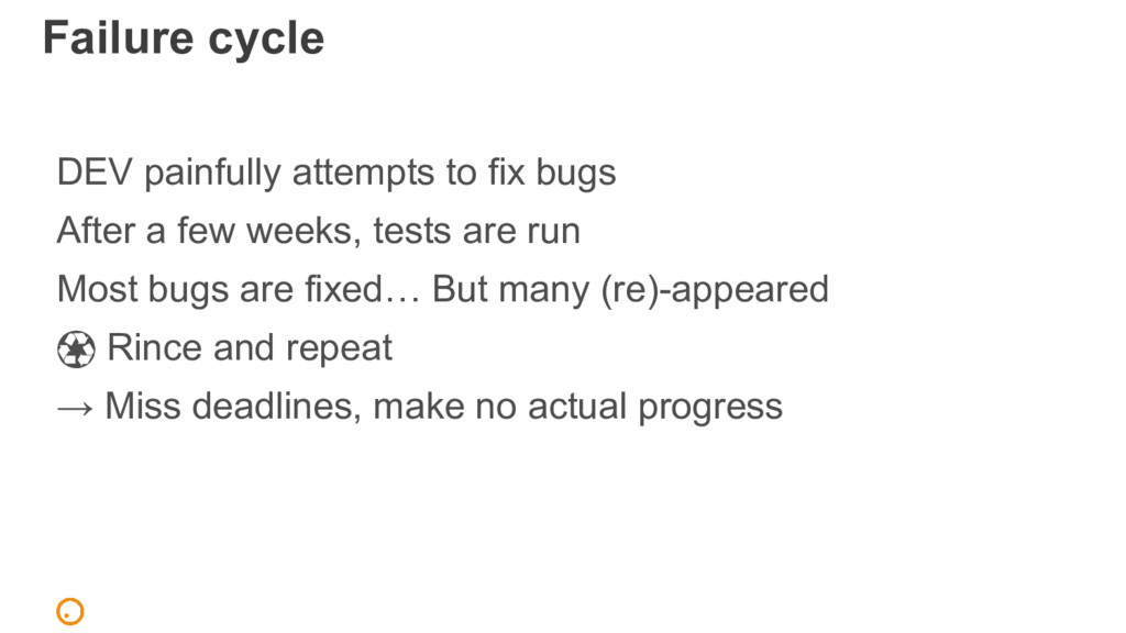 Failure cycle DEV painfully attempts to fix bug...