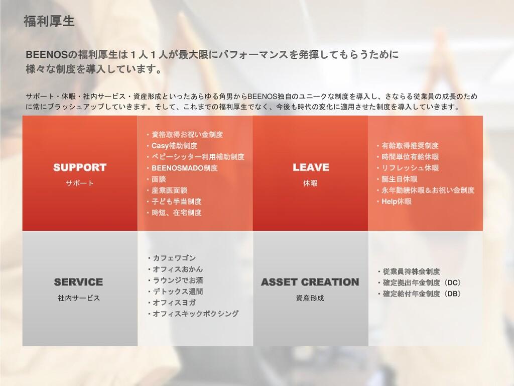 サポート・休暇・社内サービス・資産形成といったあらゆる角男からBEENOS独自のユニークな制度...