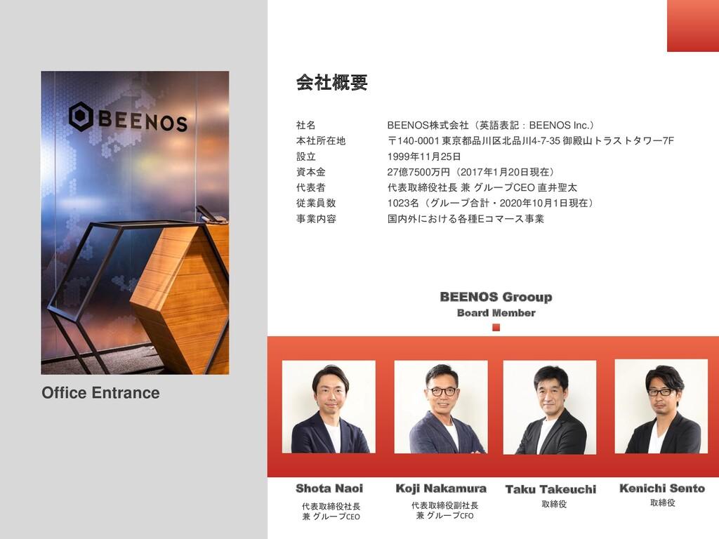 会社概要 社名 本社所在地 設立 資本金 代表者 従業員数 事業内容 BEENOS株式会社(英...