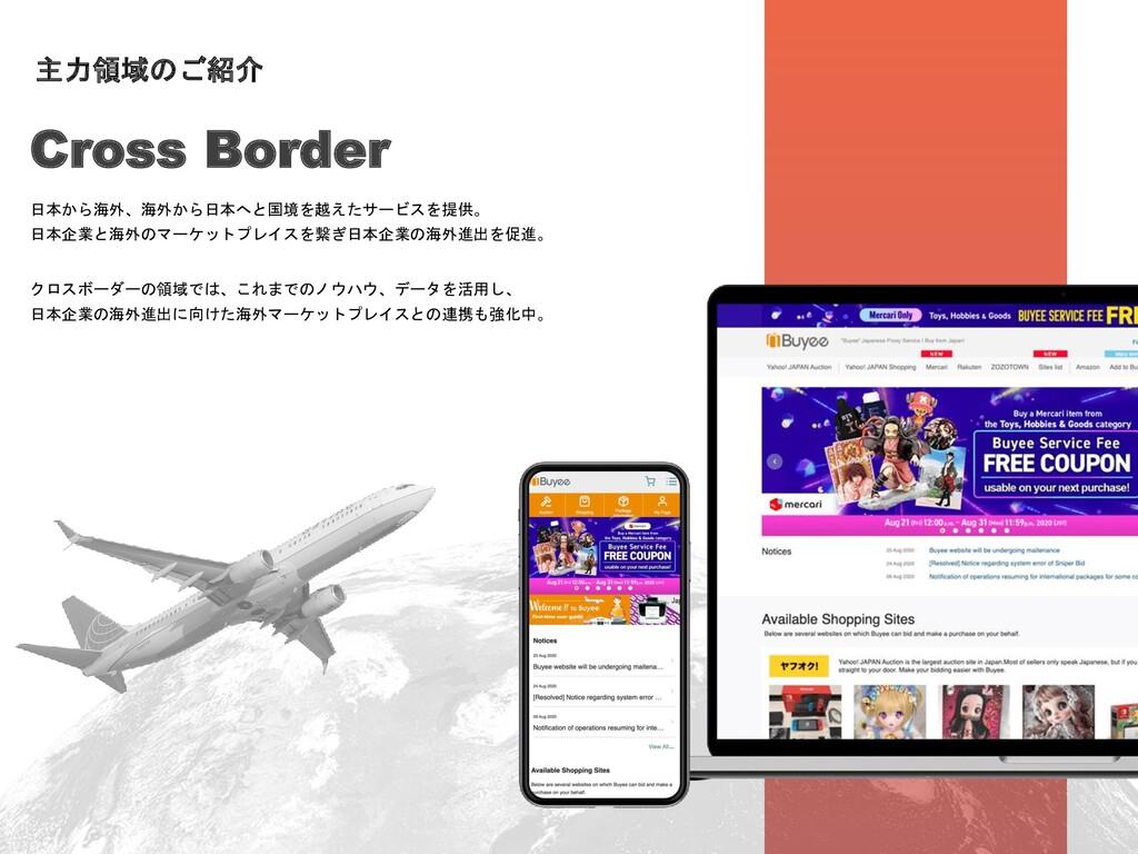 日本から海外、海外から日本へと国境を越えたサービスを提供。 日本企業と海外のマーケットプレイス...