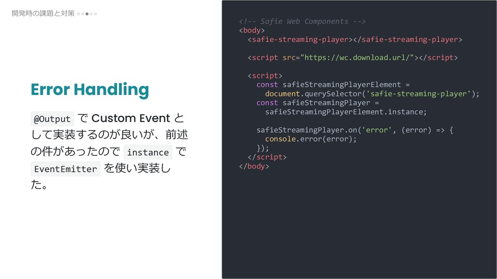 Error Handling @Output で Custom Event と して実装するの...