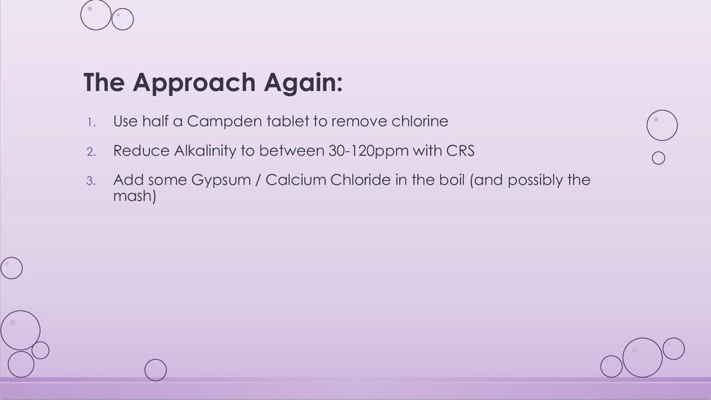 The Approach Again: 1. Use half a Campden table...