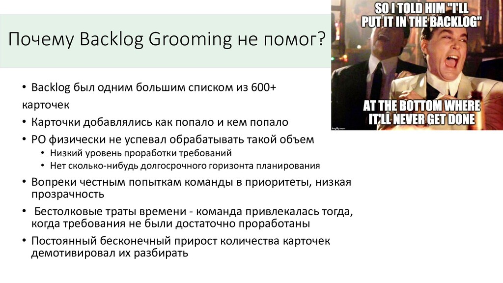 Почему Backlog Grooming не помог? • Backlog был...