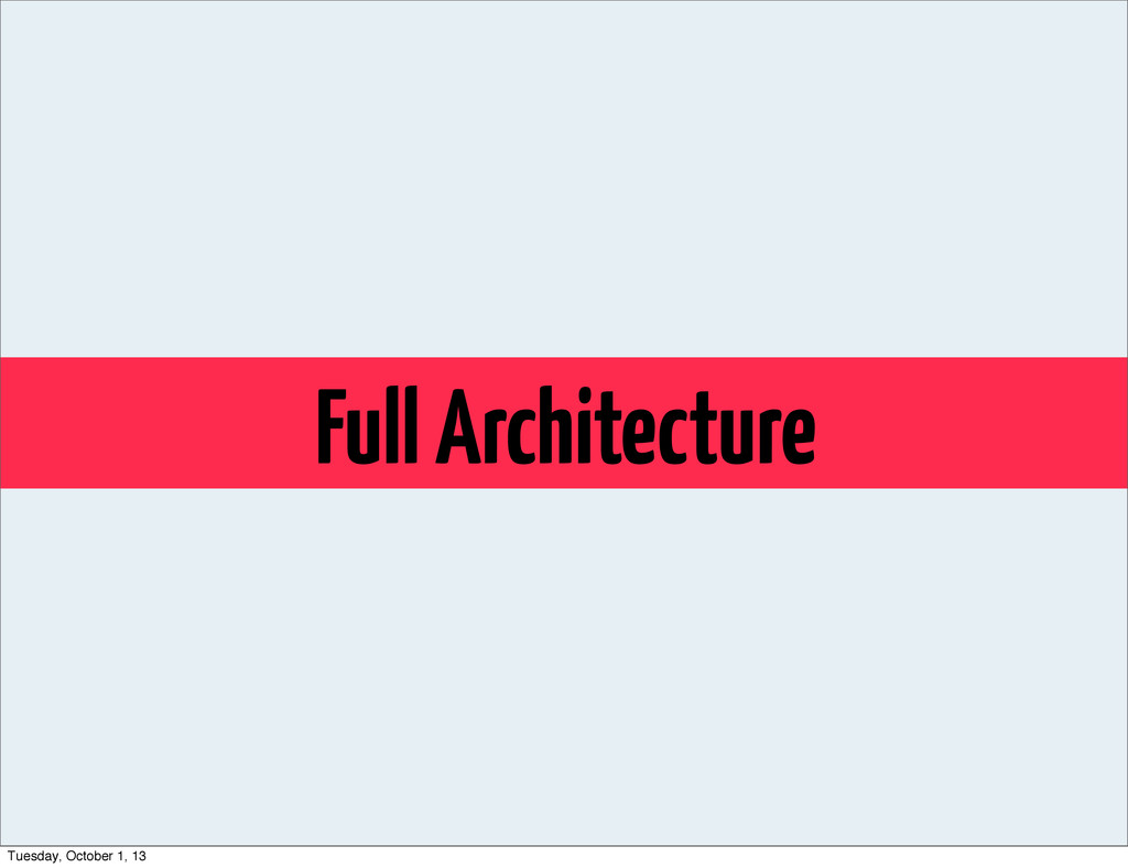 Full Architecture Tuesday, October 1, 13