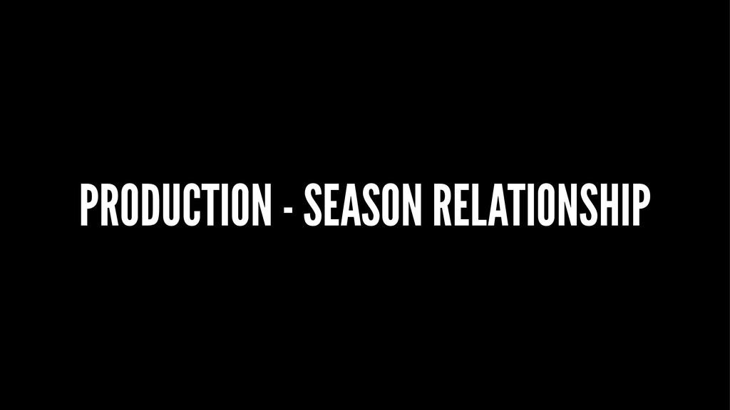 PRODUCTION - SEASON RELATIONSHIP