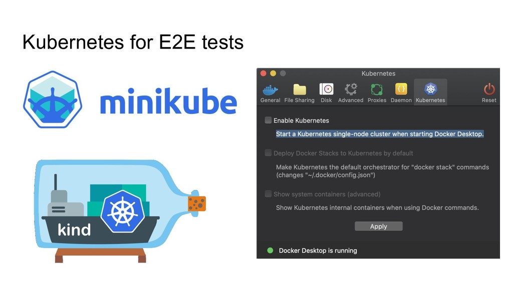 Kubernetes for E2E tests
