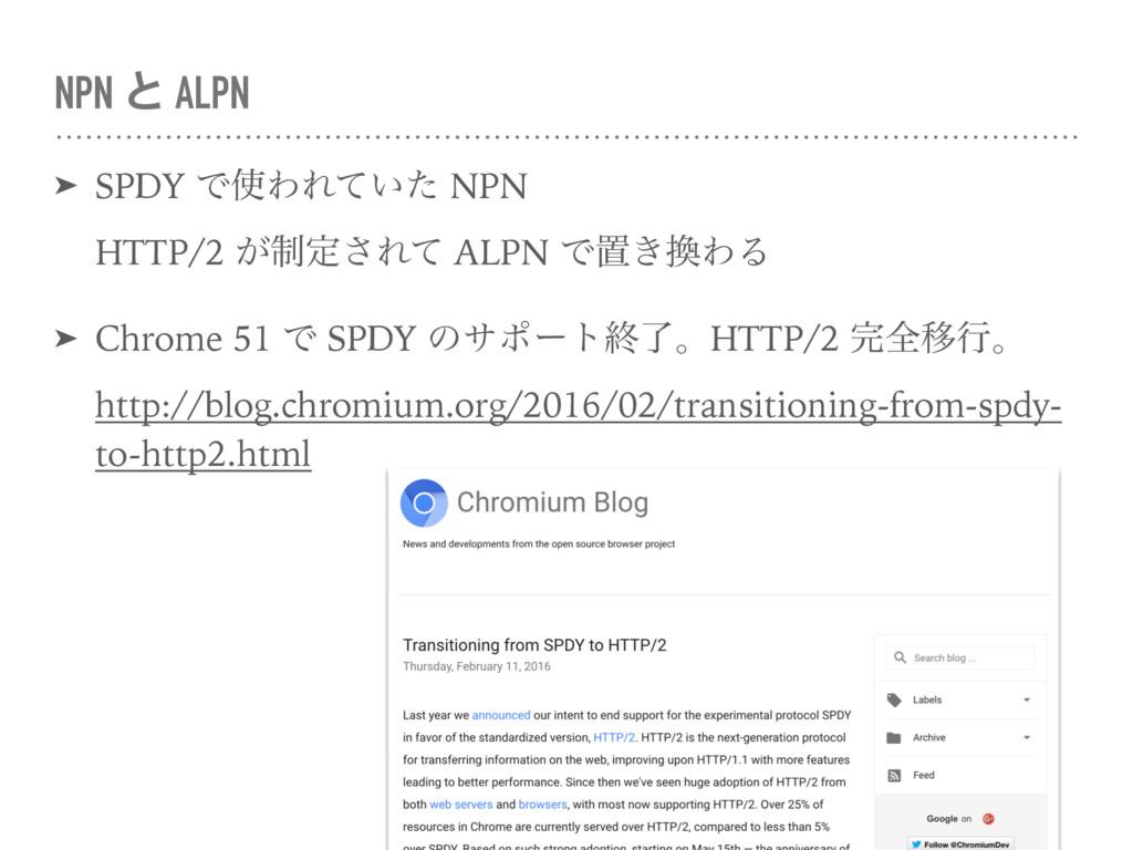 NPN ͱ ALPN ➤ SPDY ͰΘΕ͍ͯͨ NPN HTTP/2 ੍͕ఆ͞Εͯ AL...