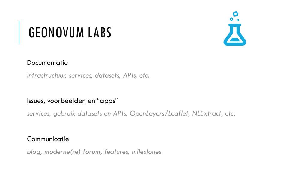 GEONOVUM LABS Documentatie infrastructuur, serv...