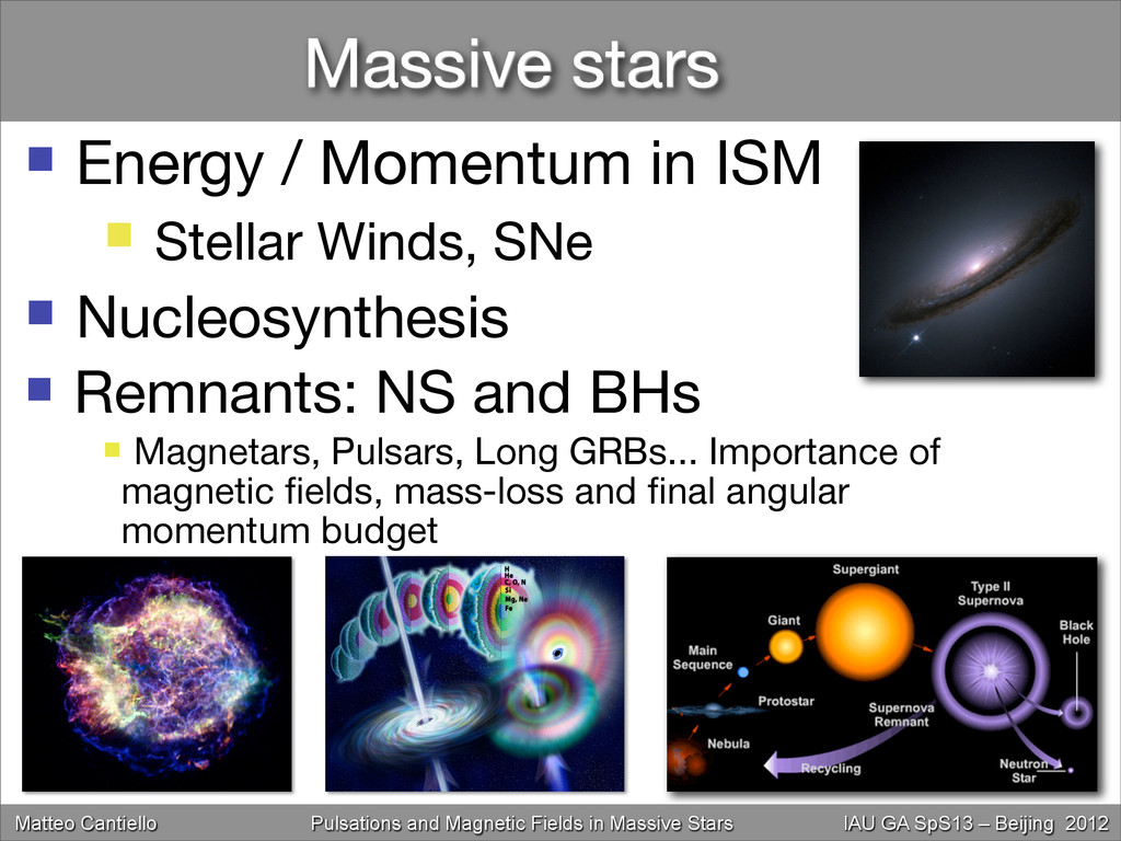 Massive stars  Energy / Momentum in ISM  Stel...