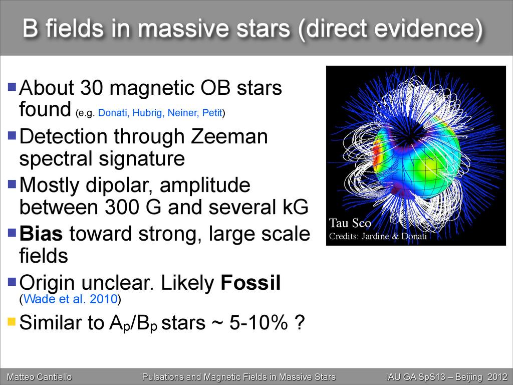 B fields in massive stars (direct evidence) Ab...