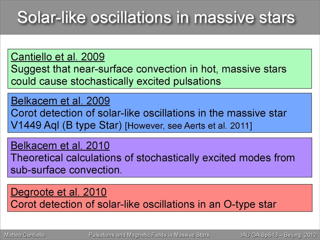 Solar-like oscillations in massive stars Matteo...