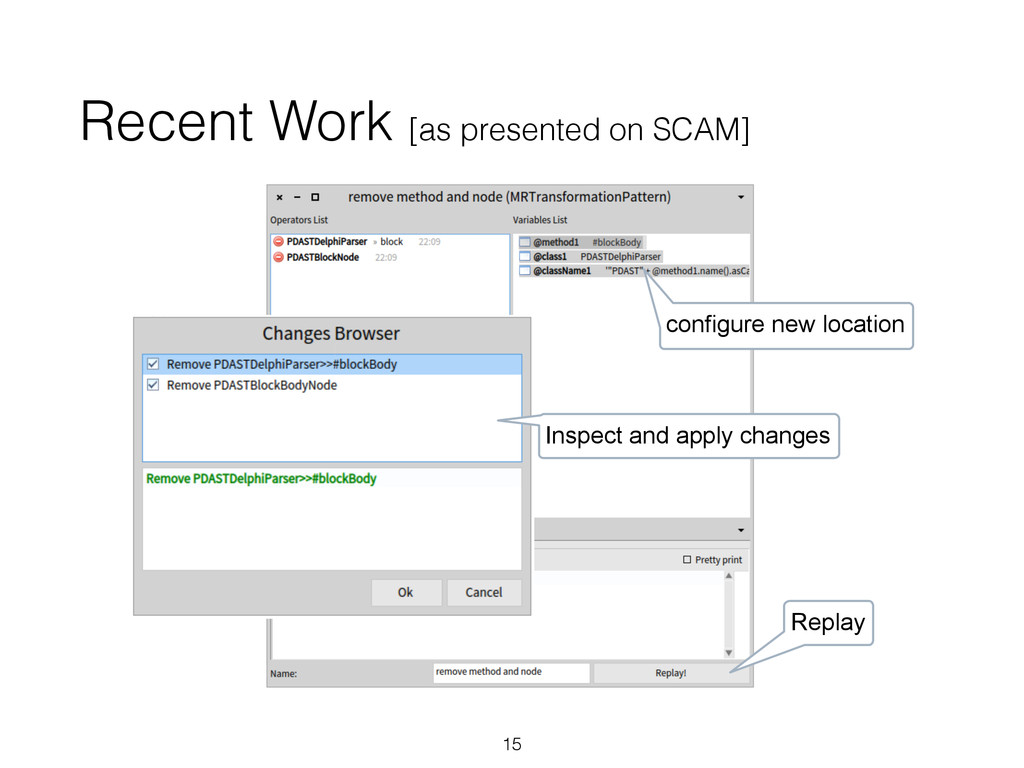 Recent Work [as presented on SCAM] 15 configure...