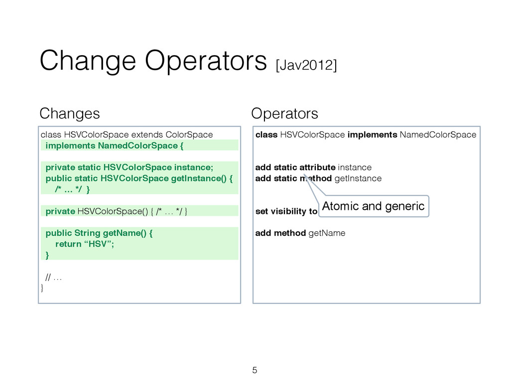 Changes Operators Change Operators [Jav2012] 5 ...