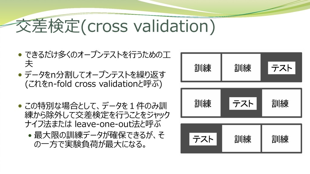 交差検定(cross validation)  できるだけ多くのオープンテストを行うための工...