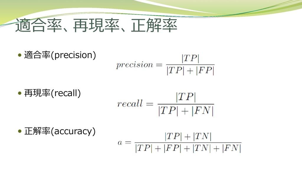 適合率、再現率、正解率  適合率(precision)  再現率(recall)  正解...