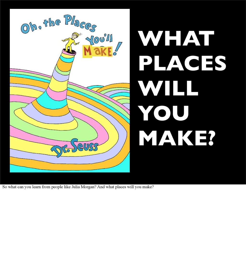 WHAT PLACES WILL YOU MAKE? So what can you lear...