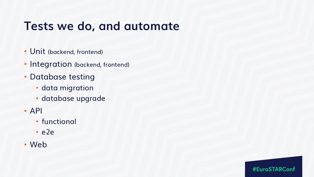 Tests we do, and automate • Unit (backend, fron...