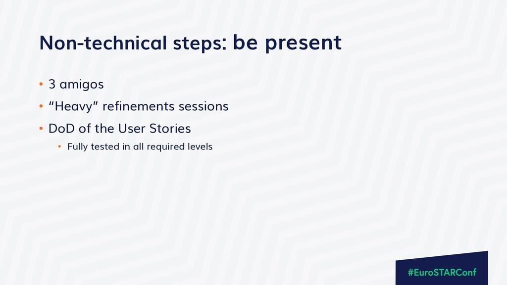 """Non-technical steps: be present • 3 amigos • """"H..."""