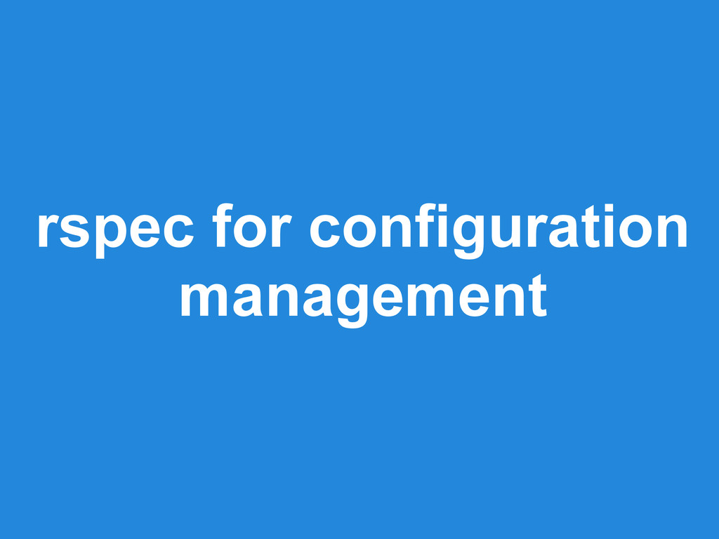 rspec for configuration management