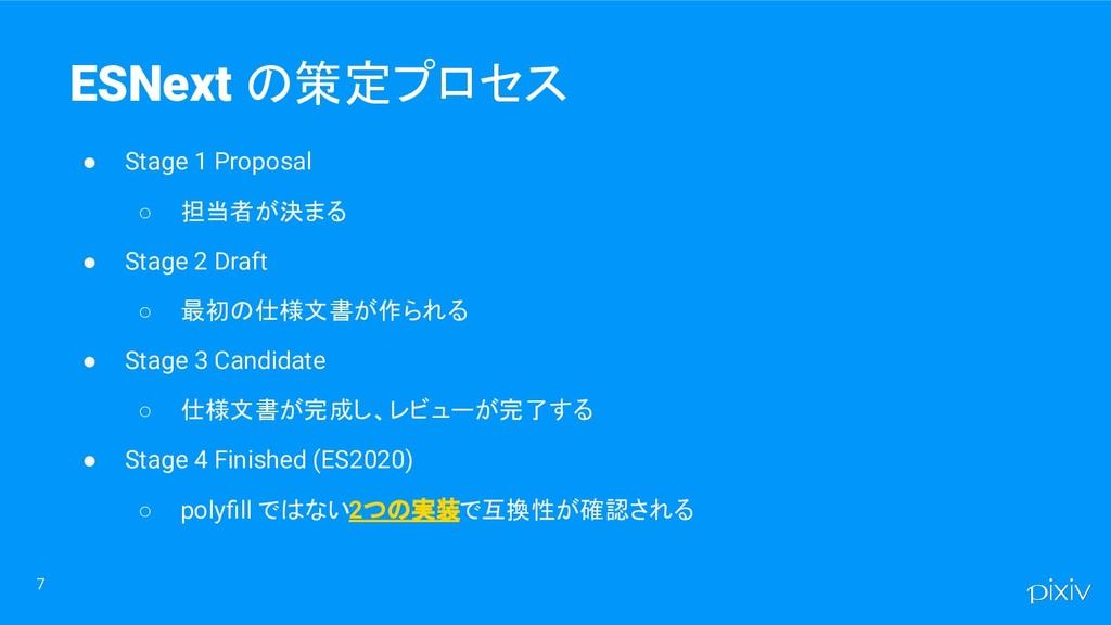 7 ESNext の策定プロセス ● Stage 1 Proposal ○ 担当者が決まる ●...