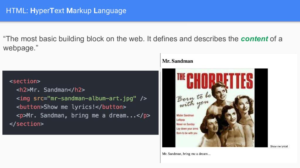 "HTML: HyperText Markup Language ""The most basic..."