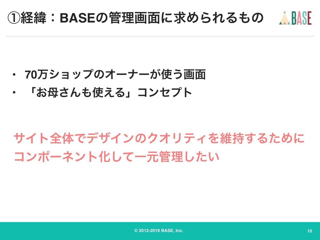 © 2012-2019 BASE, Inc. ᶃܦҢɿBASEͷཧը໘ʹٻΊΒΕΔͷ 10...