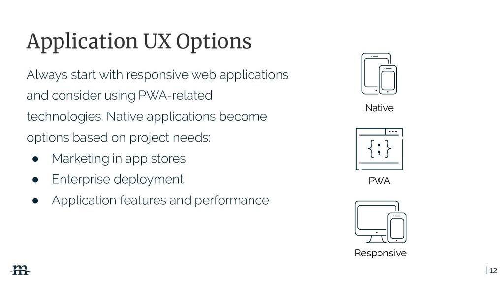 | 12 Application UX Options Responsive PWA Nati...